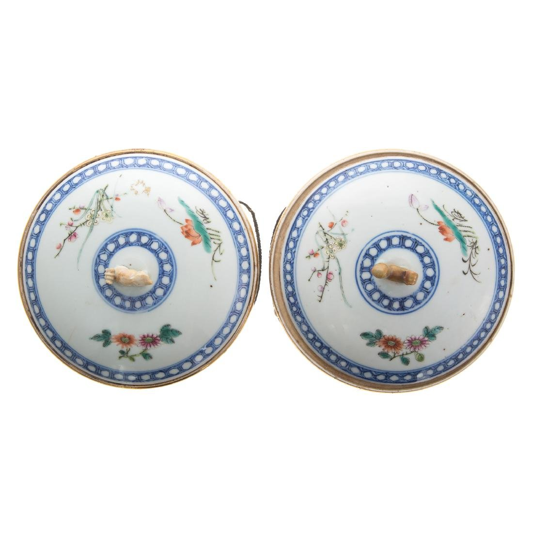 Pair Chinese Export hot water serving dishes - 2