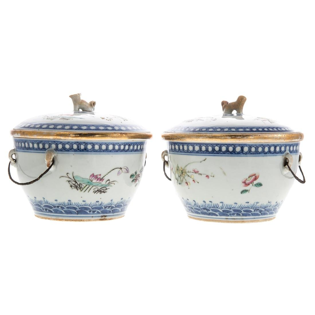 Pair Chinese Export hot water serving dishes - 3