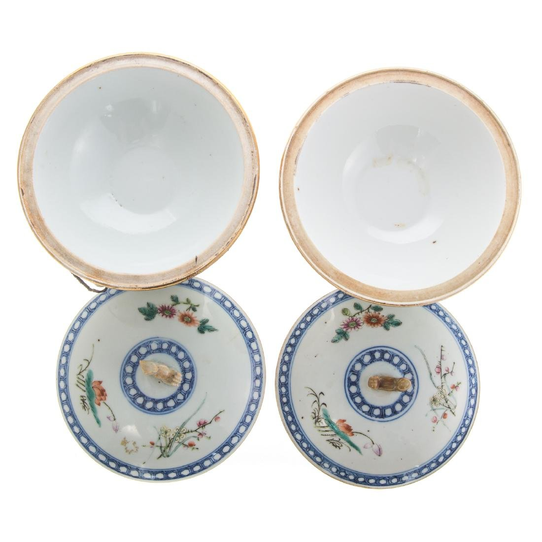 Pair Chinese Export hot water serving dishes - 4