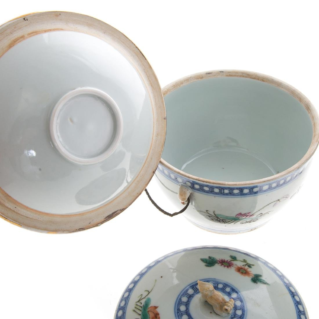 Pair Chinese Export hot water serving dishes - 5