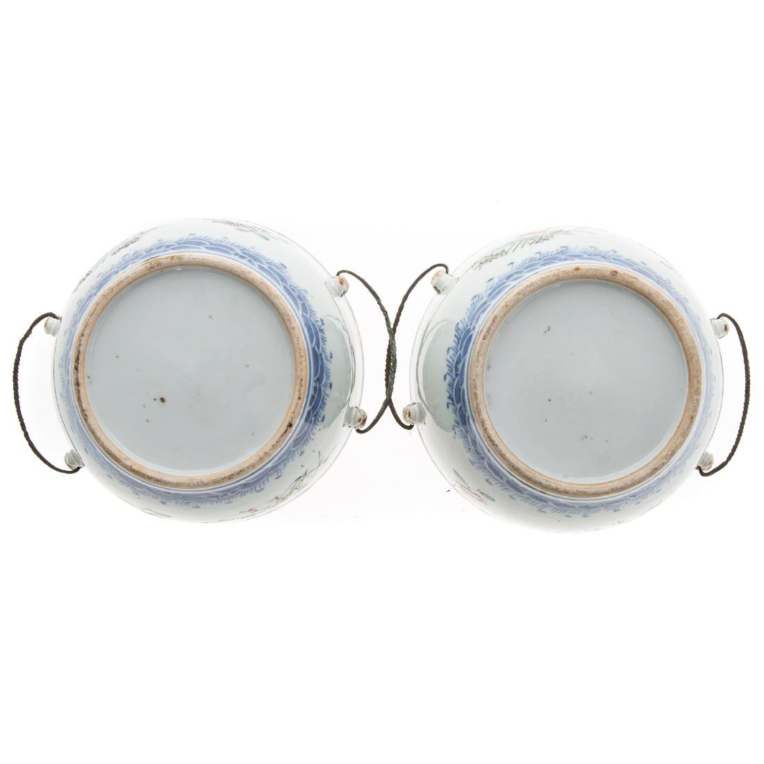 Pair Chinese Export hot water serving dishes - 6