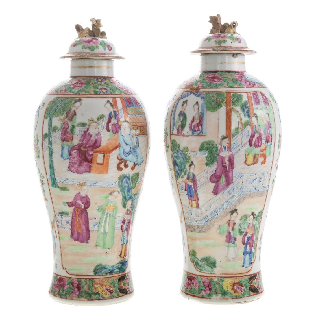 Pair Chinese Export Rose Mandarin jars