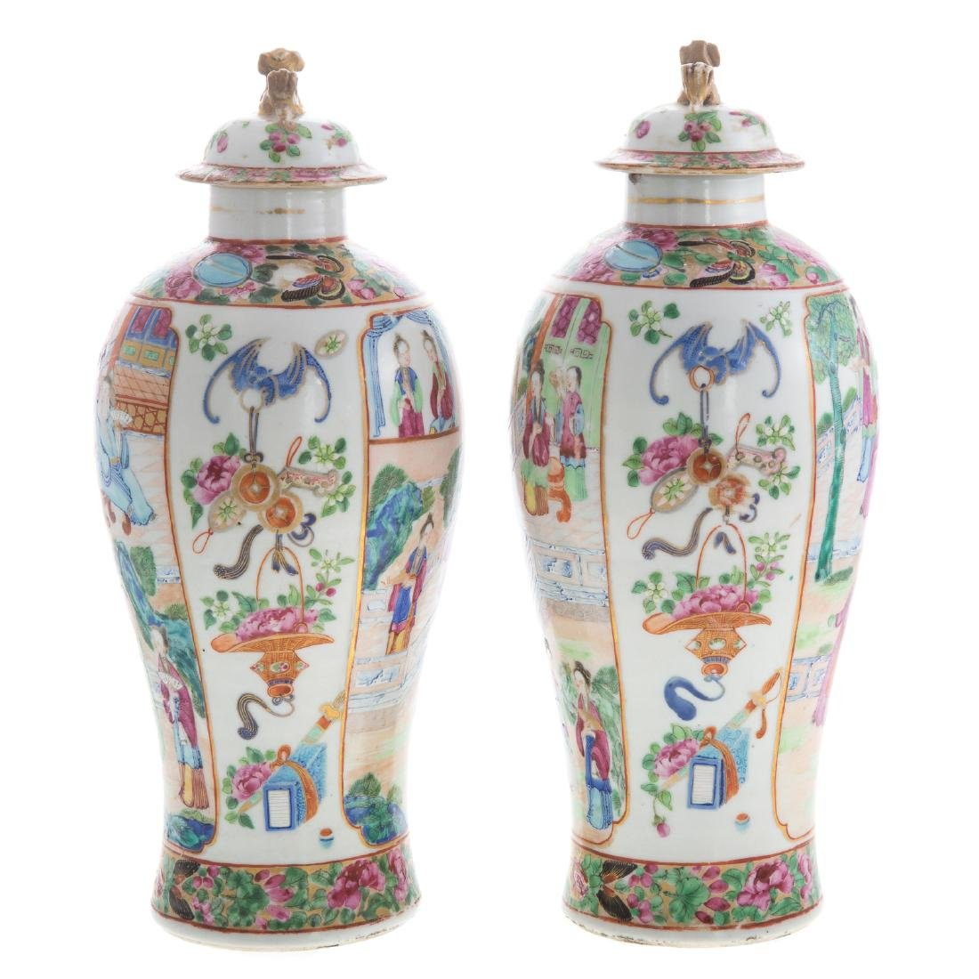 Pair Chinese Export Rose Mandarin jars - 4