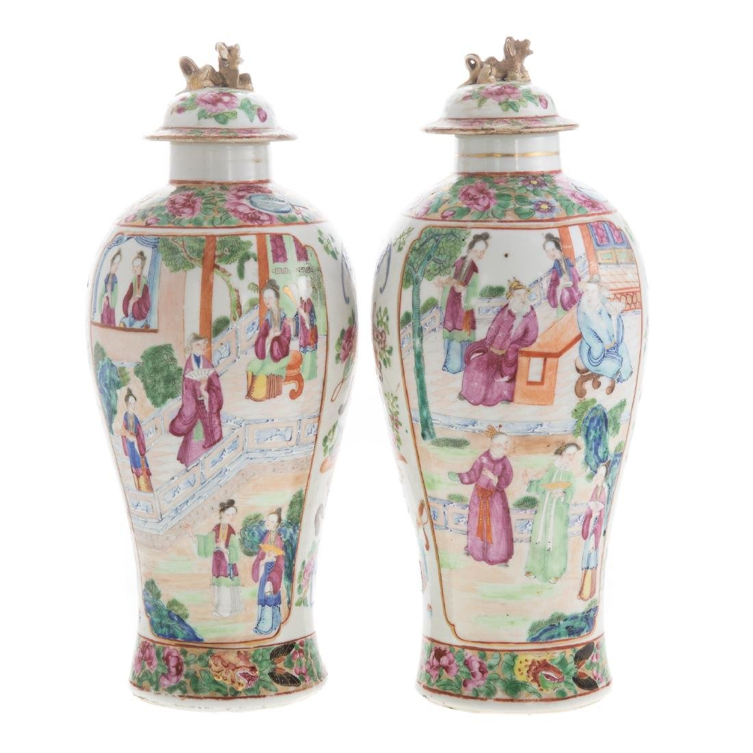 Pair Chinese Export Rose Mandarin jars - 5