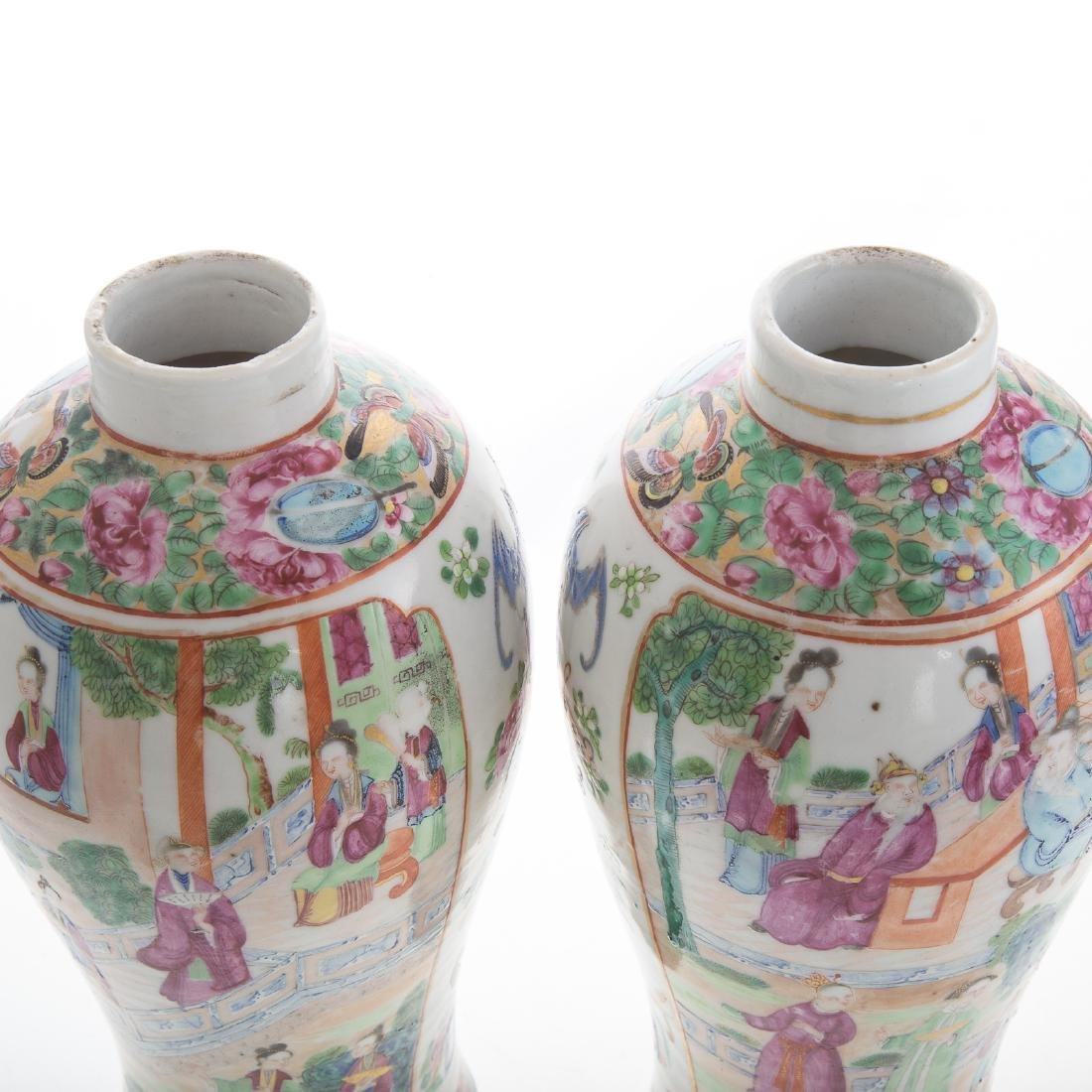 Pair Chinese Export Rose Mandarin jars - 6