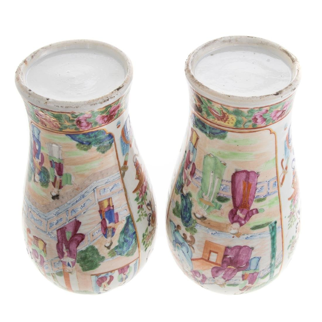 Pair Chinese Export Rose Mandarin jars - 7