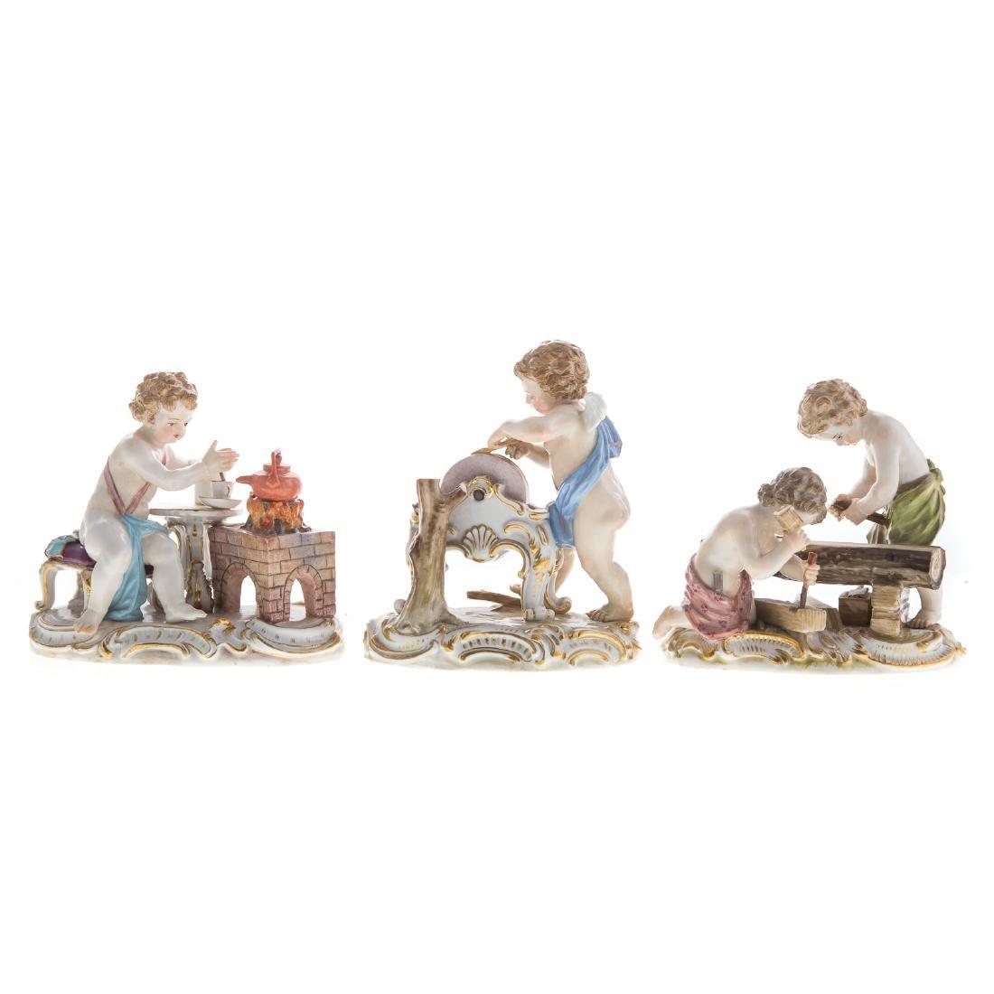Three Meissen porcelain figural groups
