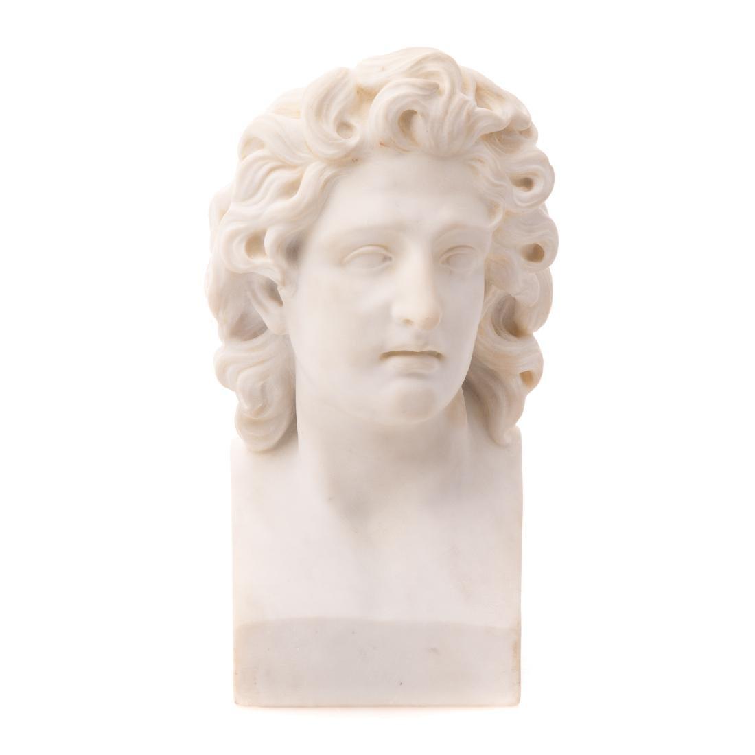 Italian Grande Tour marble bust of Apollo