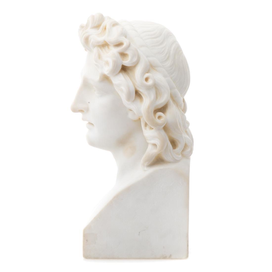 Italian Grande Tour marble bust of Apollo - 2