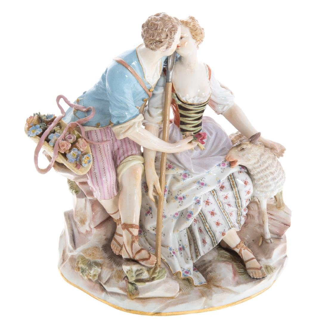 Meissen porcelain pastoral figure group - 4