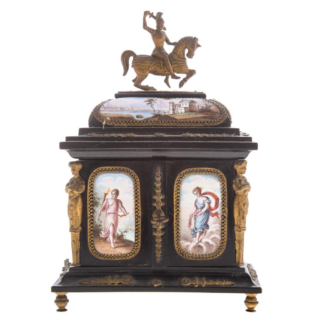 Italian ebonized wood and enamel jewelry box