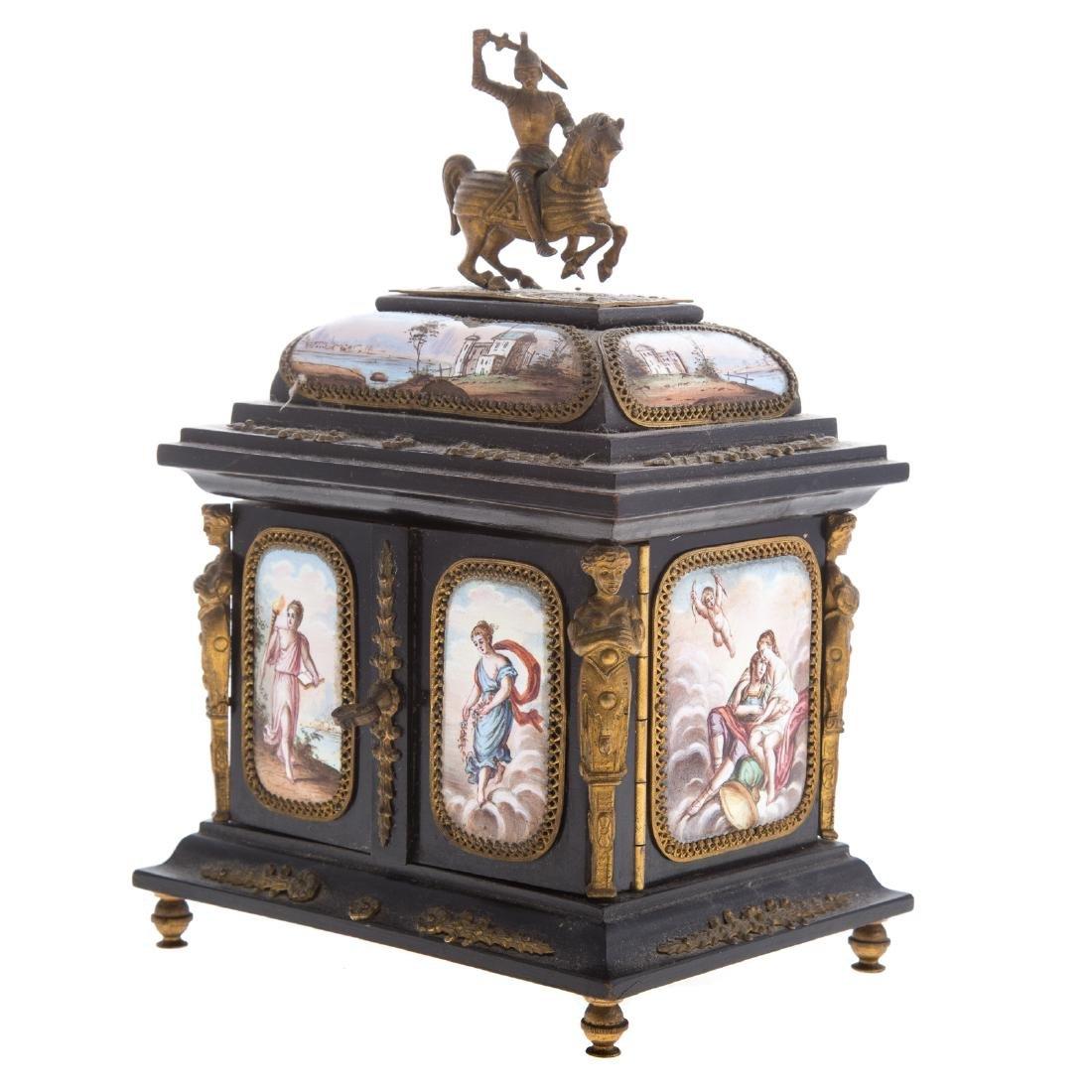 Italian ebonized wood and enamel jewelry box - 2