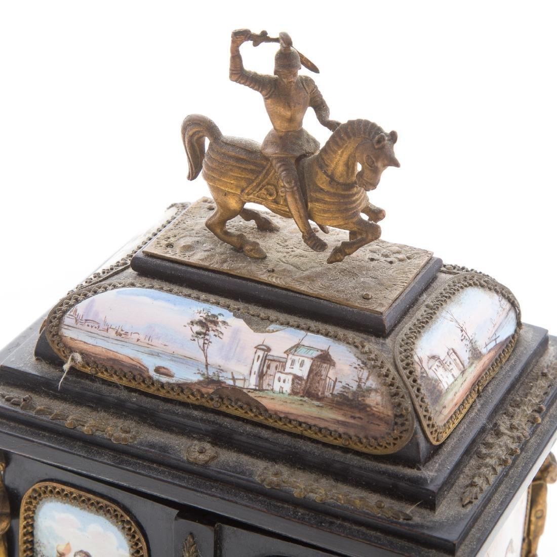 Italian ebonized wood and enamel jewelry box - 3