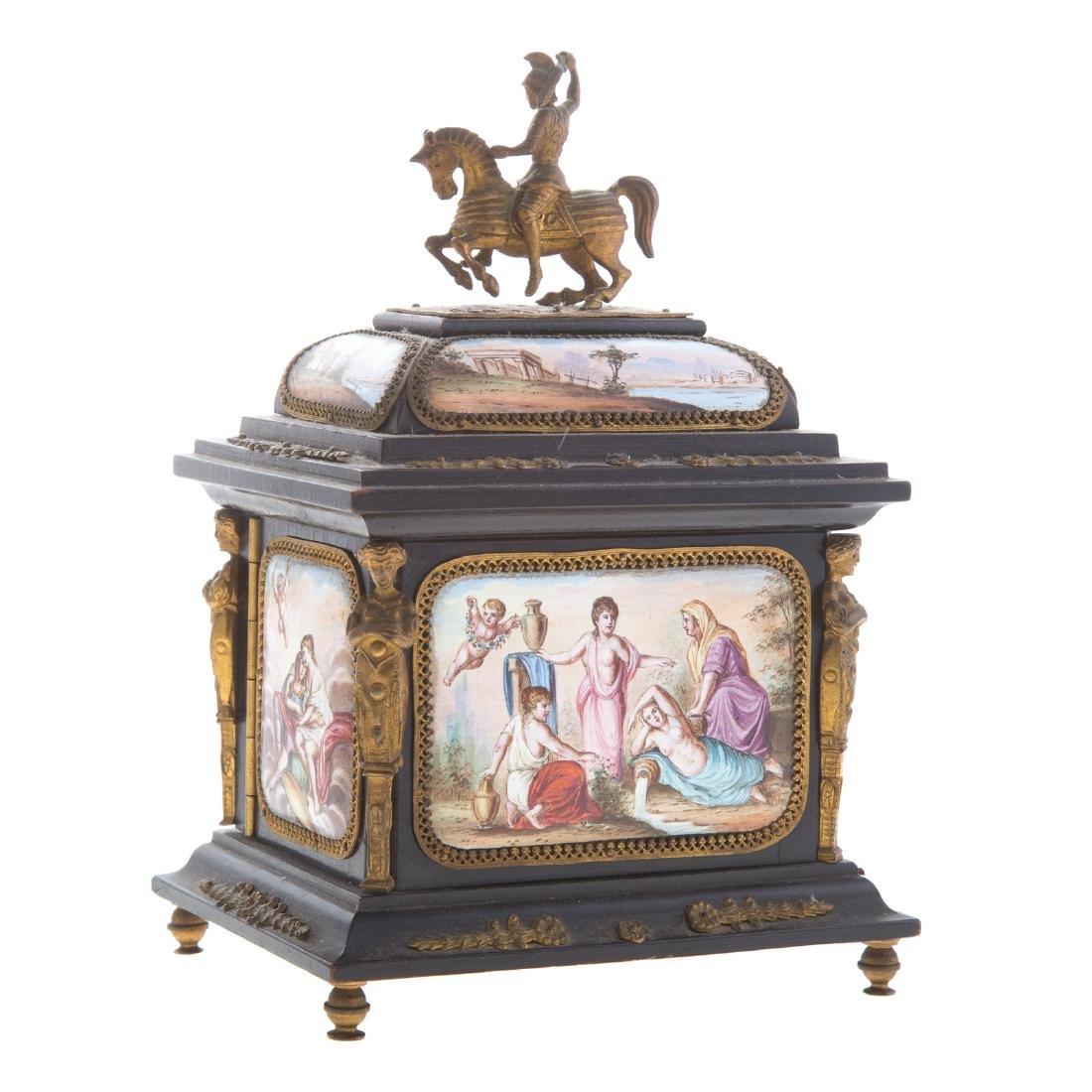 Italian ebonized wood and enamel jewelry box - 4