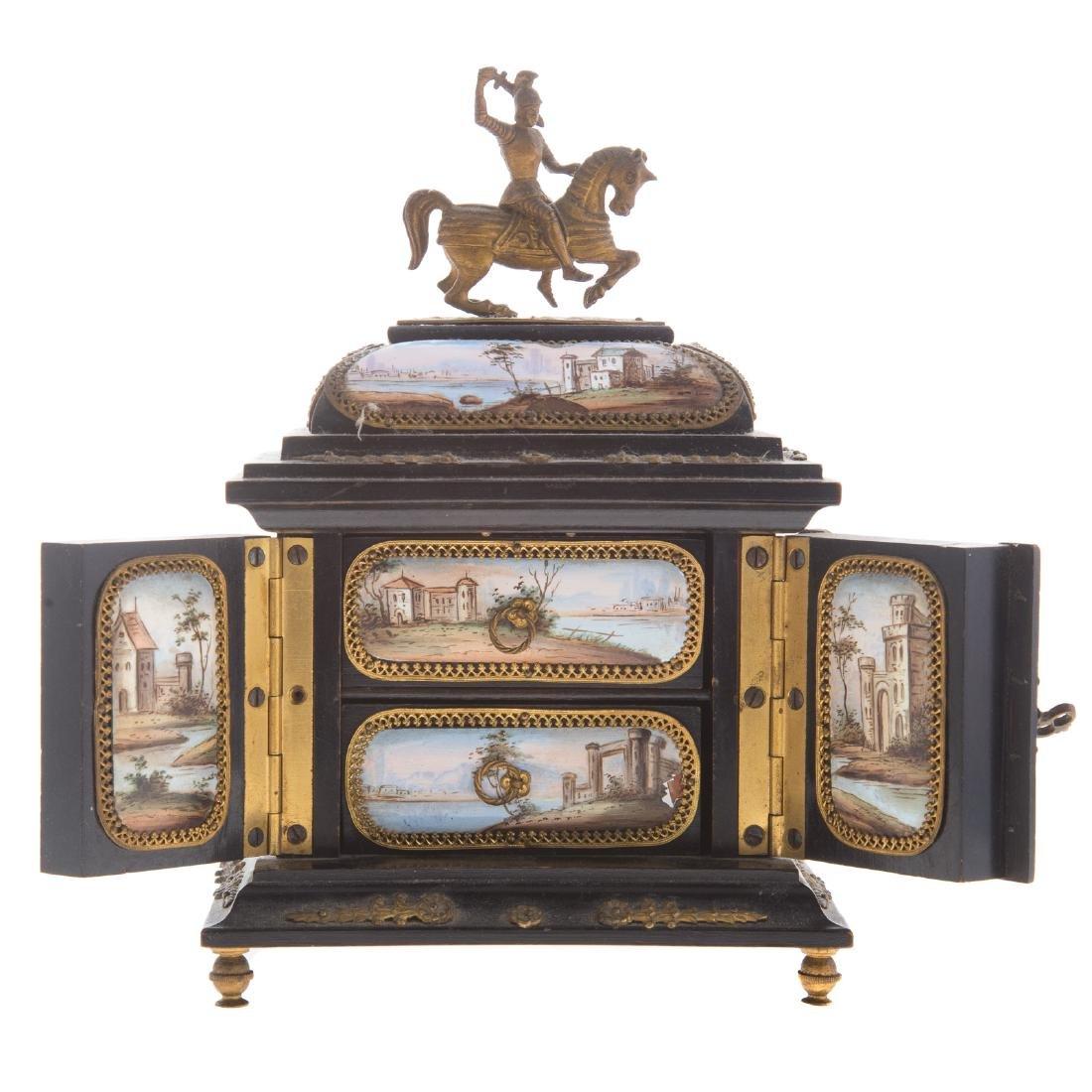 Italian ebonized wood and enamel jewelry box - 6