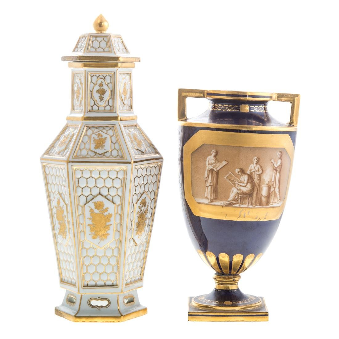 Meissen porcelain jar and Vienna urn