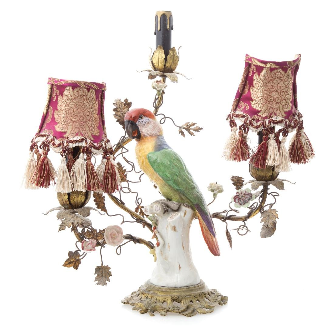 Rococo style porcelain parrot lamp