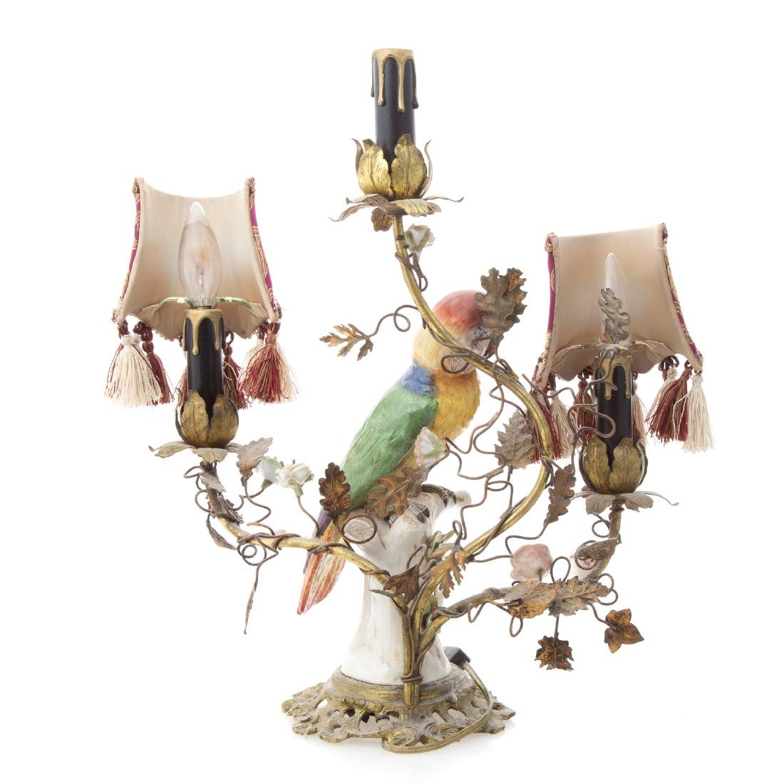 Rococo style porcelain parrot lamp - 3