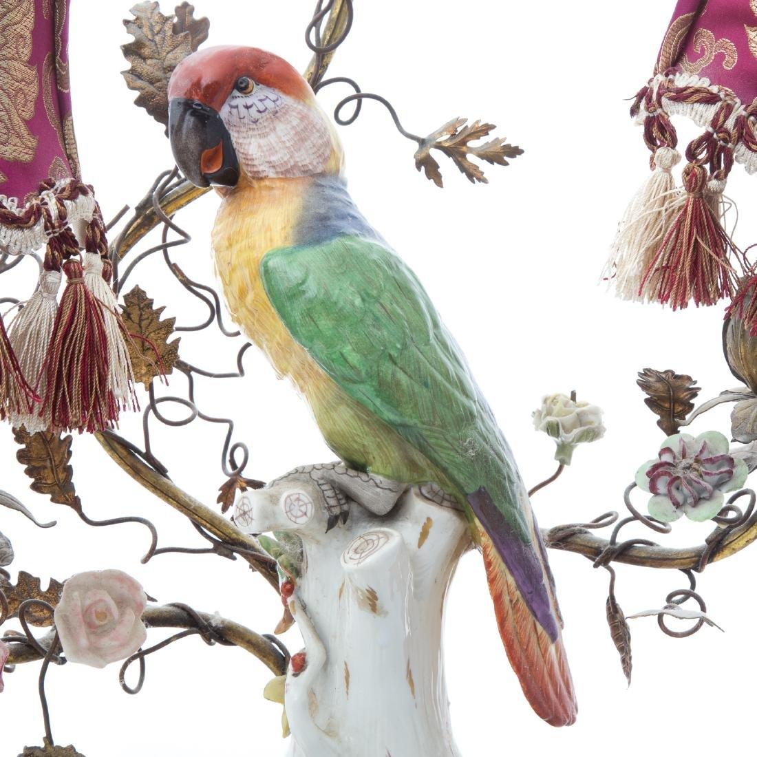Rococo style porcelain parrot lamp - 4
