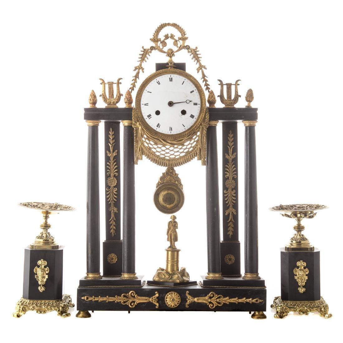 Napoleon III portico clock garniture