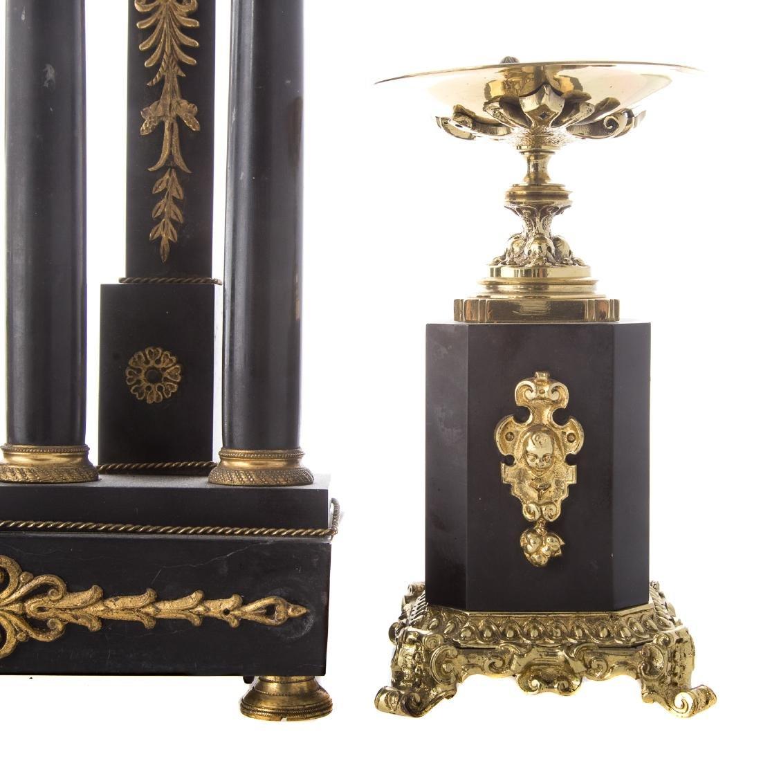 Napoleon III portico clock garniture - 4