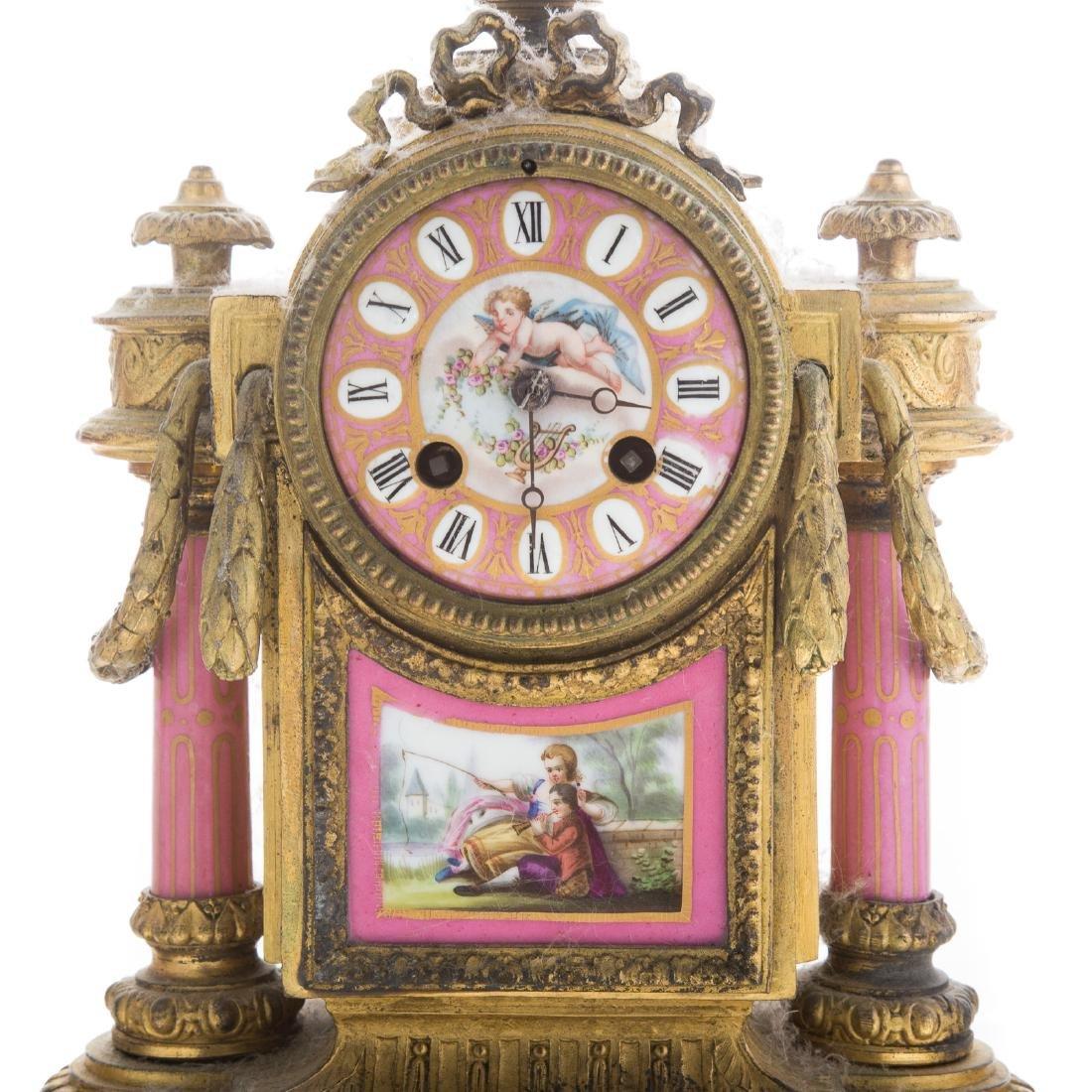 Phillipe H. Mourey gilt-metal clock garniture - 2