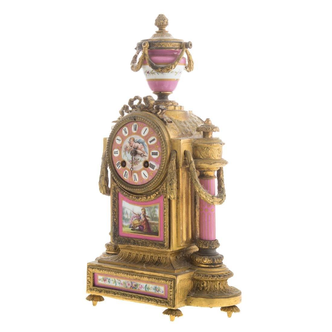 Phillipe H. Mourey gilt-metal clock garniture - 4