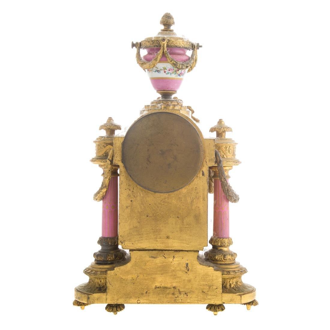 Phillipe H. Mourey gilt-metal clock garniture - 7