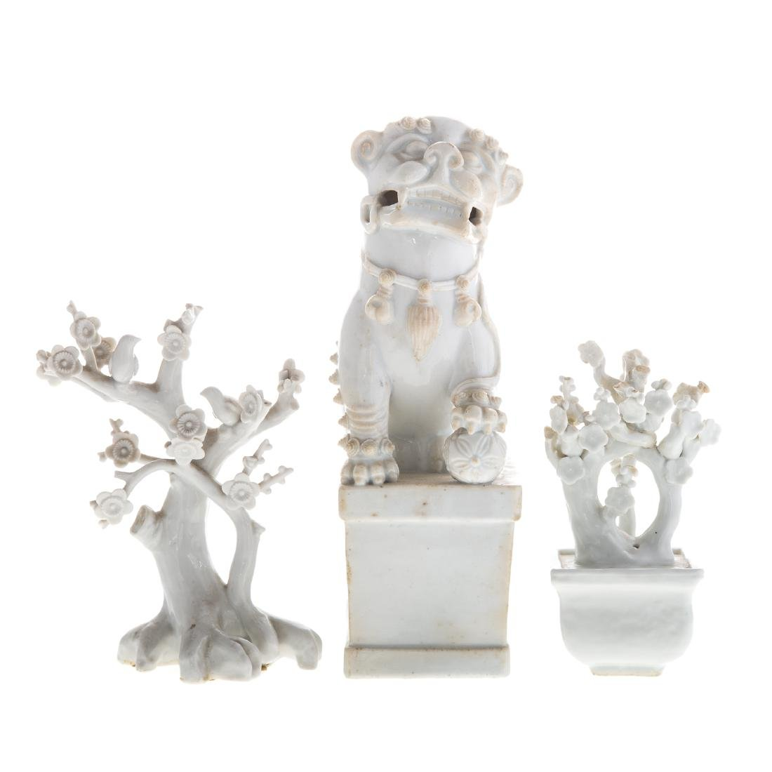 Three Chinese Blanc-de-Chine porcelain objects