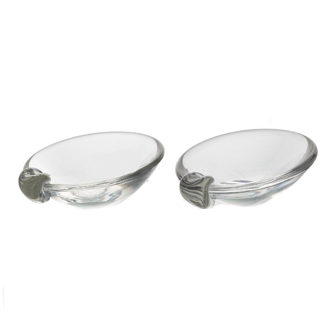 Pair Steuben crystal candlesticks and dishes - 3