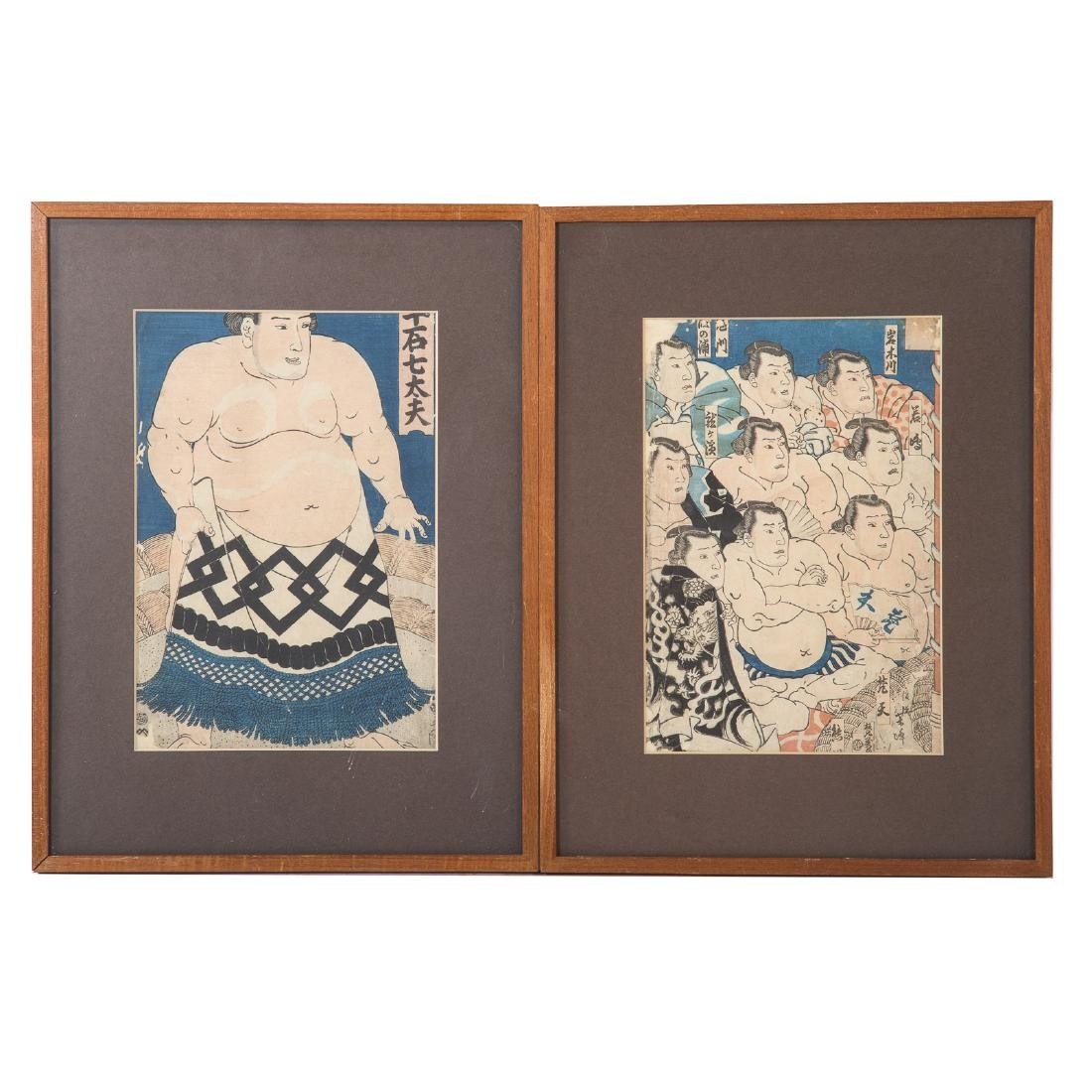 Two Japanese color woodblock prints