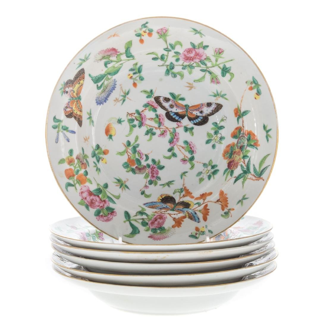 Six Chinese Export Famille Rose soup plates