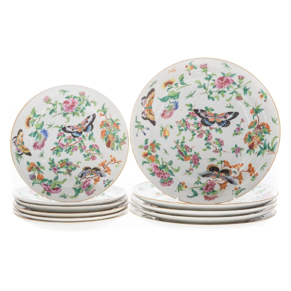 11 Chinese Export Famille Rose plates