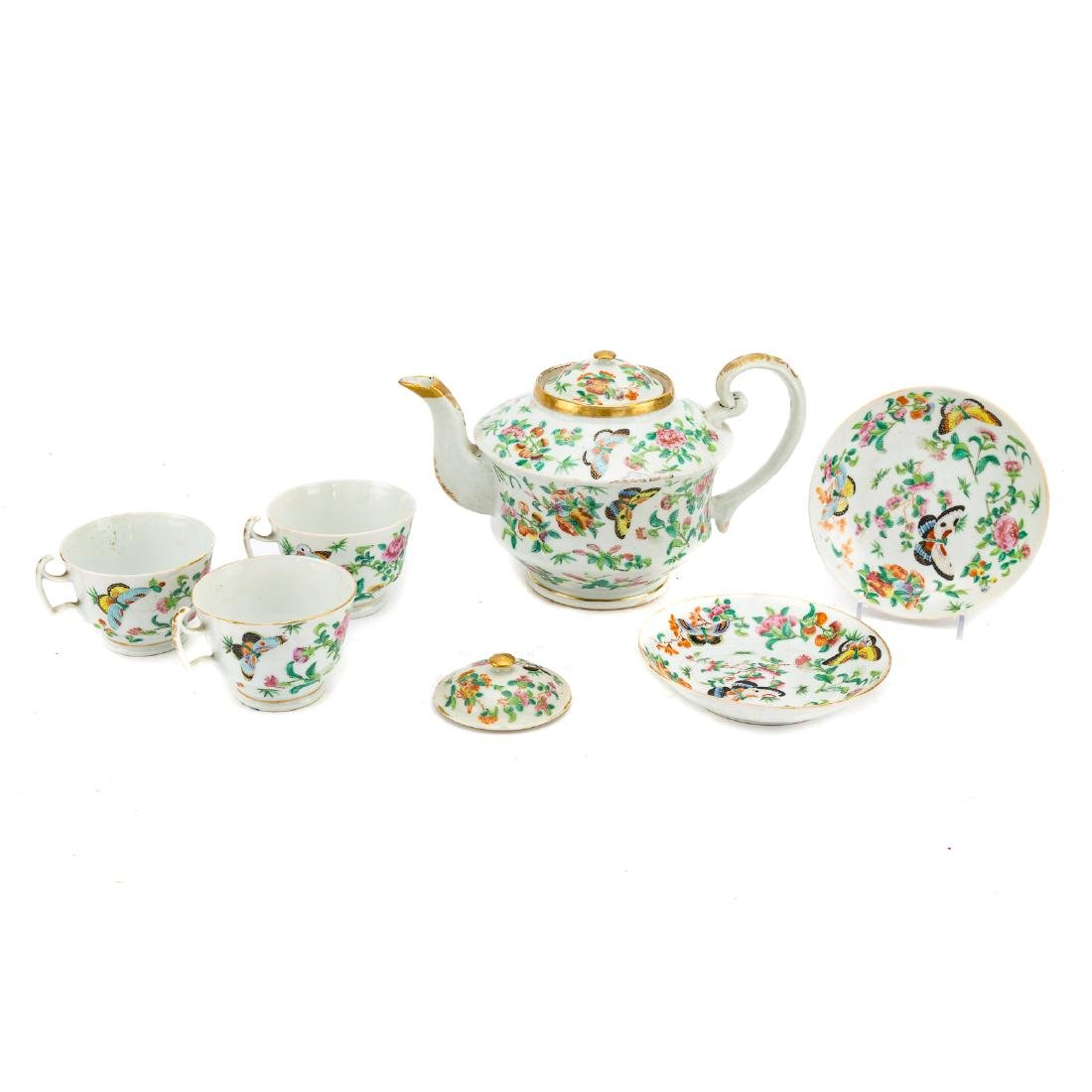 13-piece Chinese Export Famille Rose tea set