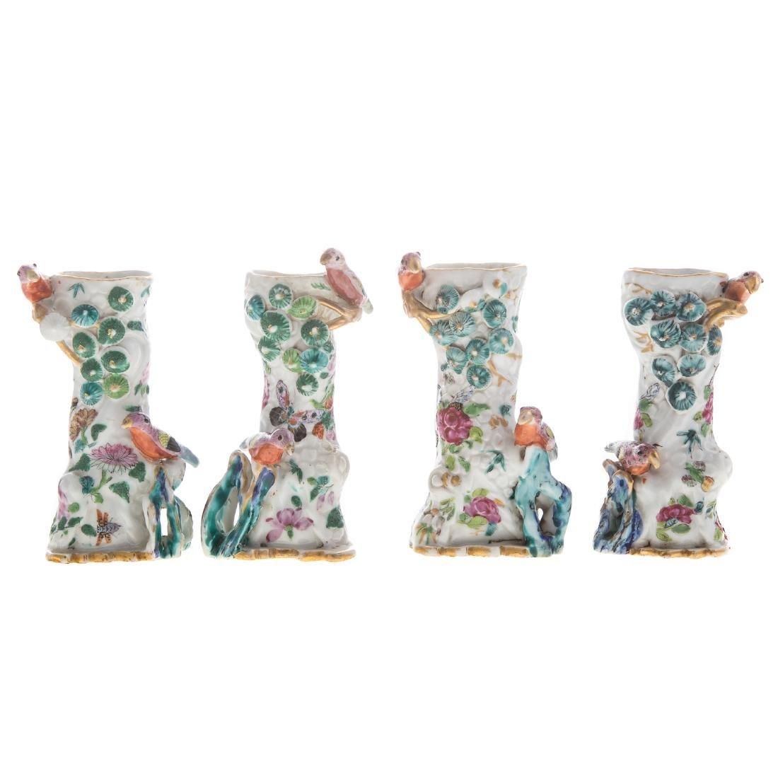 Rare set four Chinese Export bud table vases