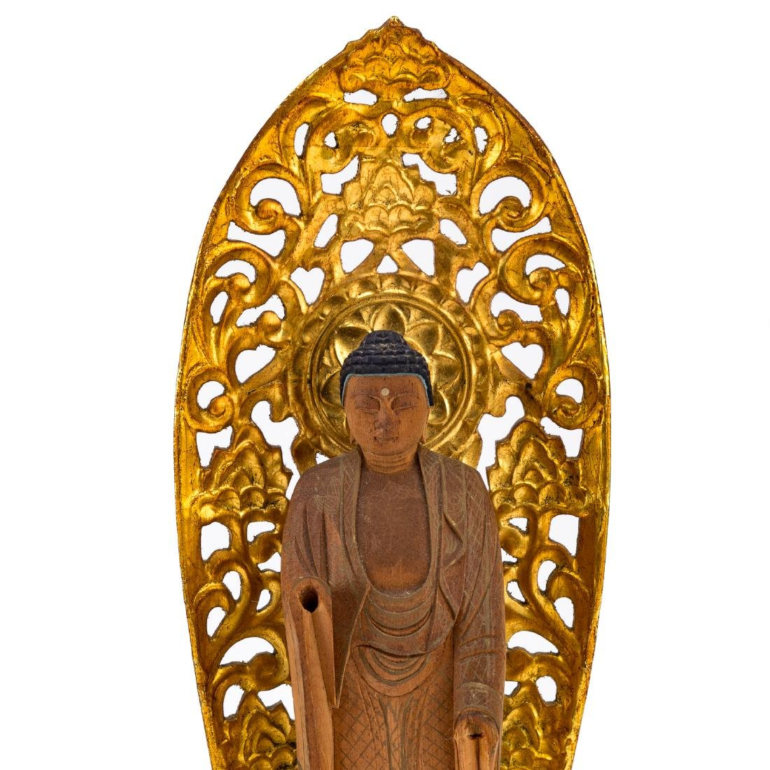 Chinese carved and gilded wood Buddhist shrine - 2