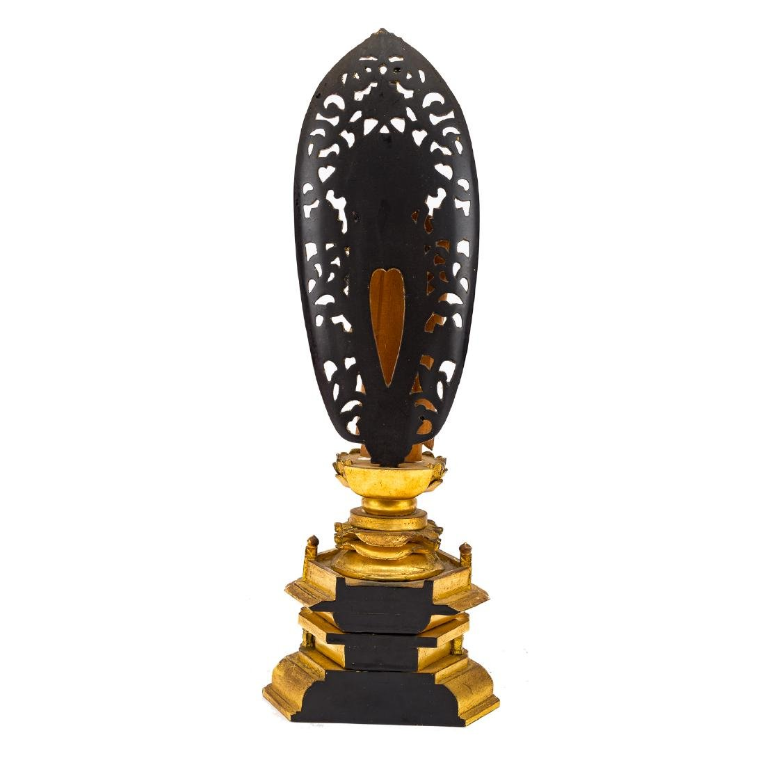 Chinese carved and gilded wood Buddhist shrine - 5