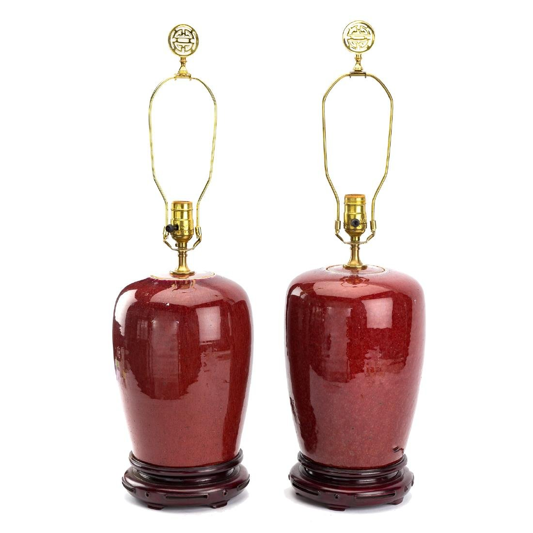 Pair Chinese Sang-de-Boeuf porcelain jar lamps
