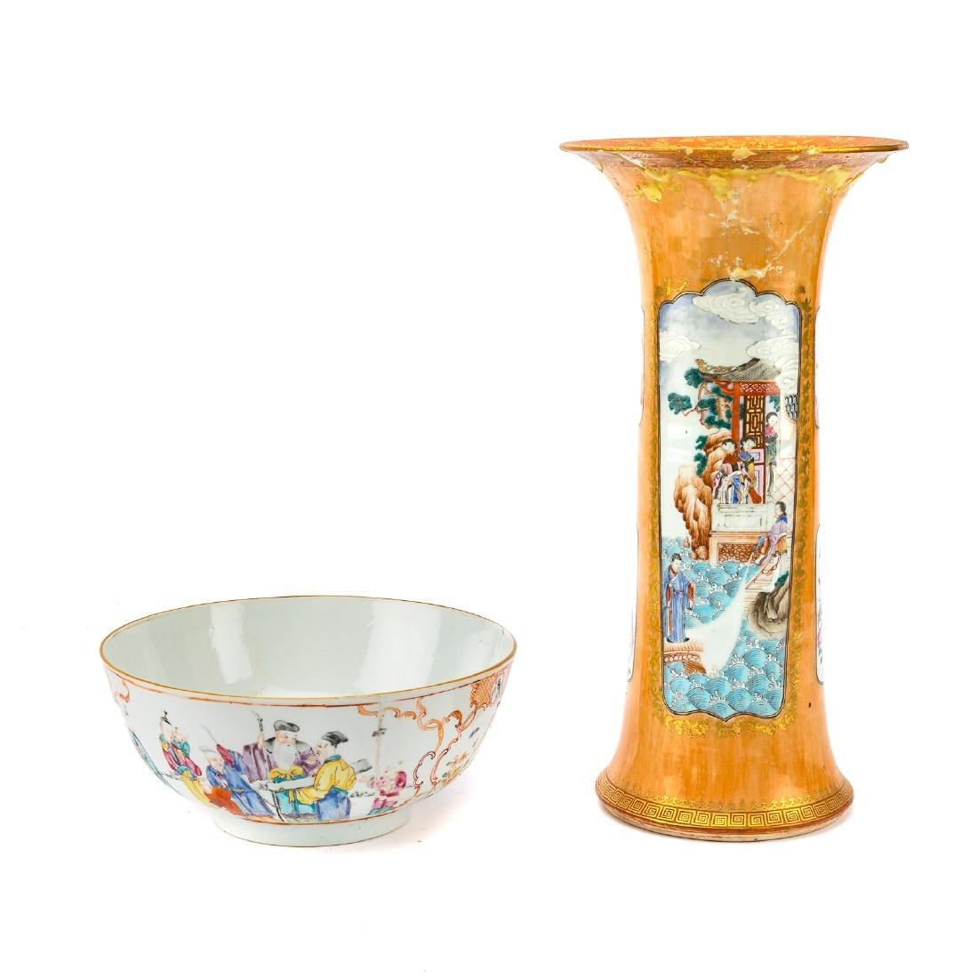 Chinese Export trumpet vase and bowl