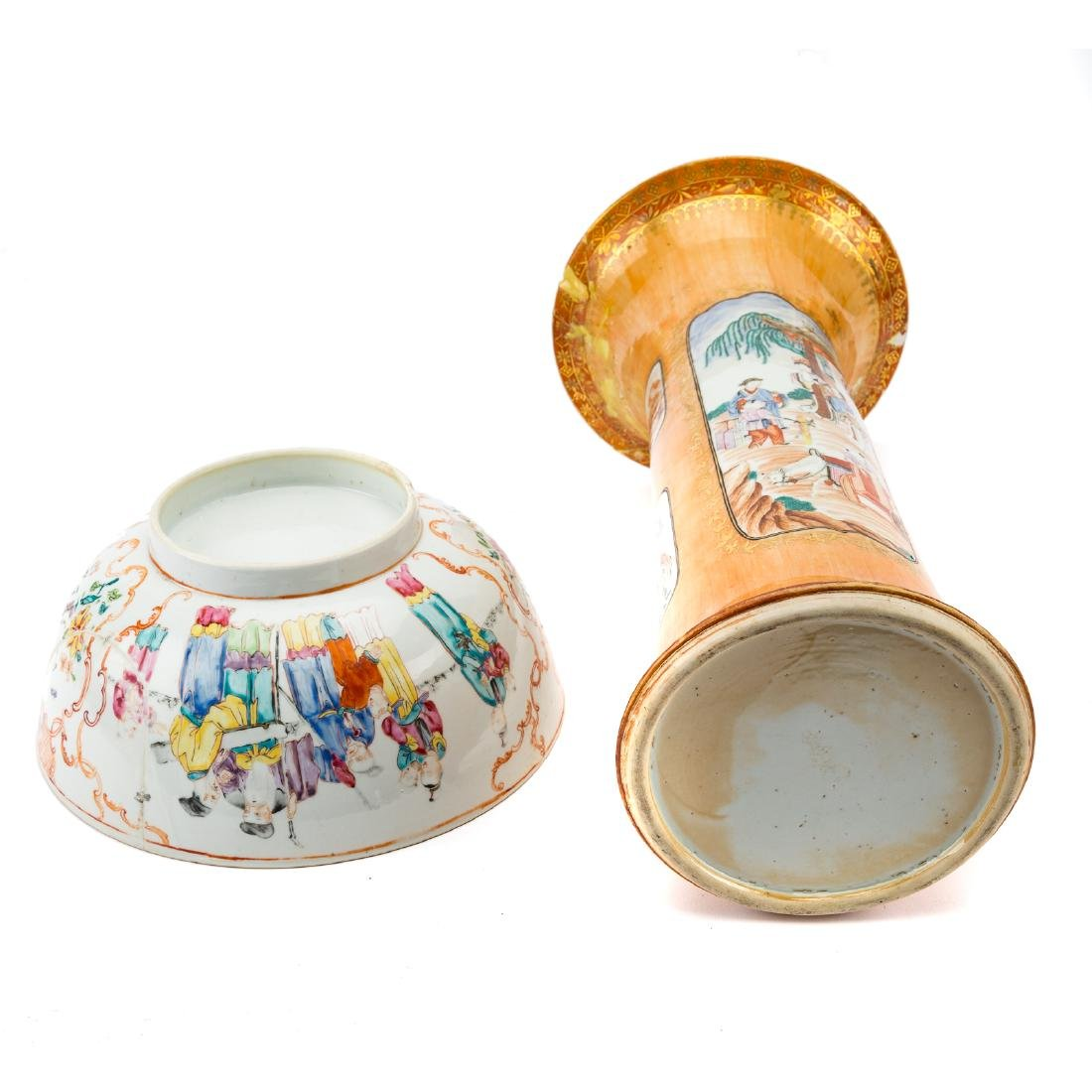 Chinese Export trumpet vase and bowl - 7