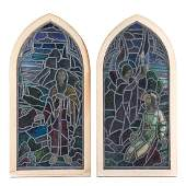 Pair Continental leaded/stained glass windows