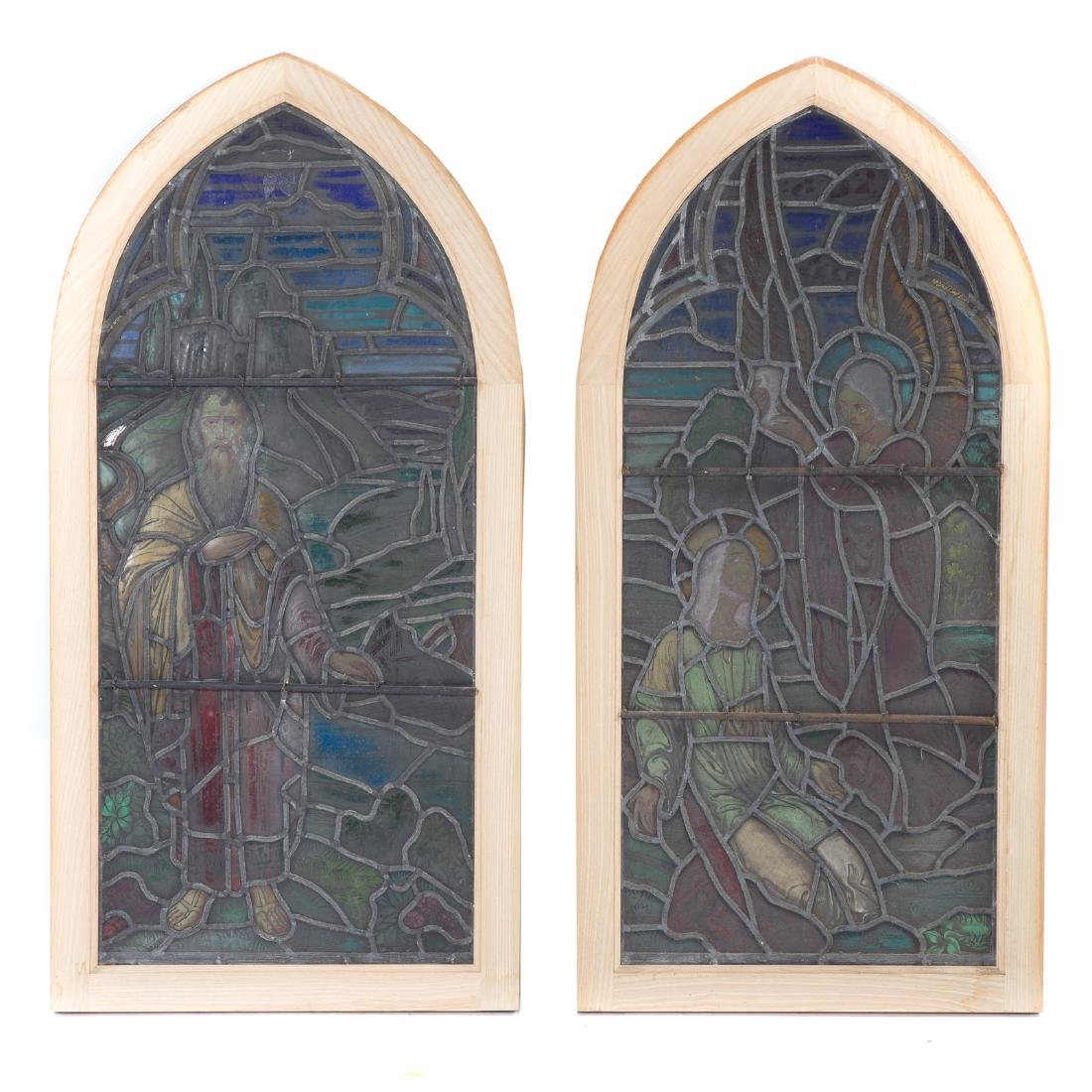 Pair Continental leaded/stained glass windows - 5