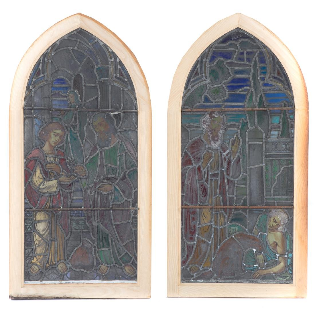Pair Continental leaded/stained glass windows - 6
