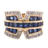 A Ladys Sapphire  Diamond Ring in 14K Gold