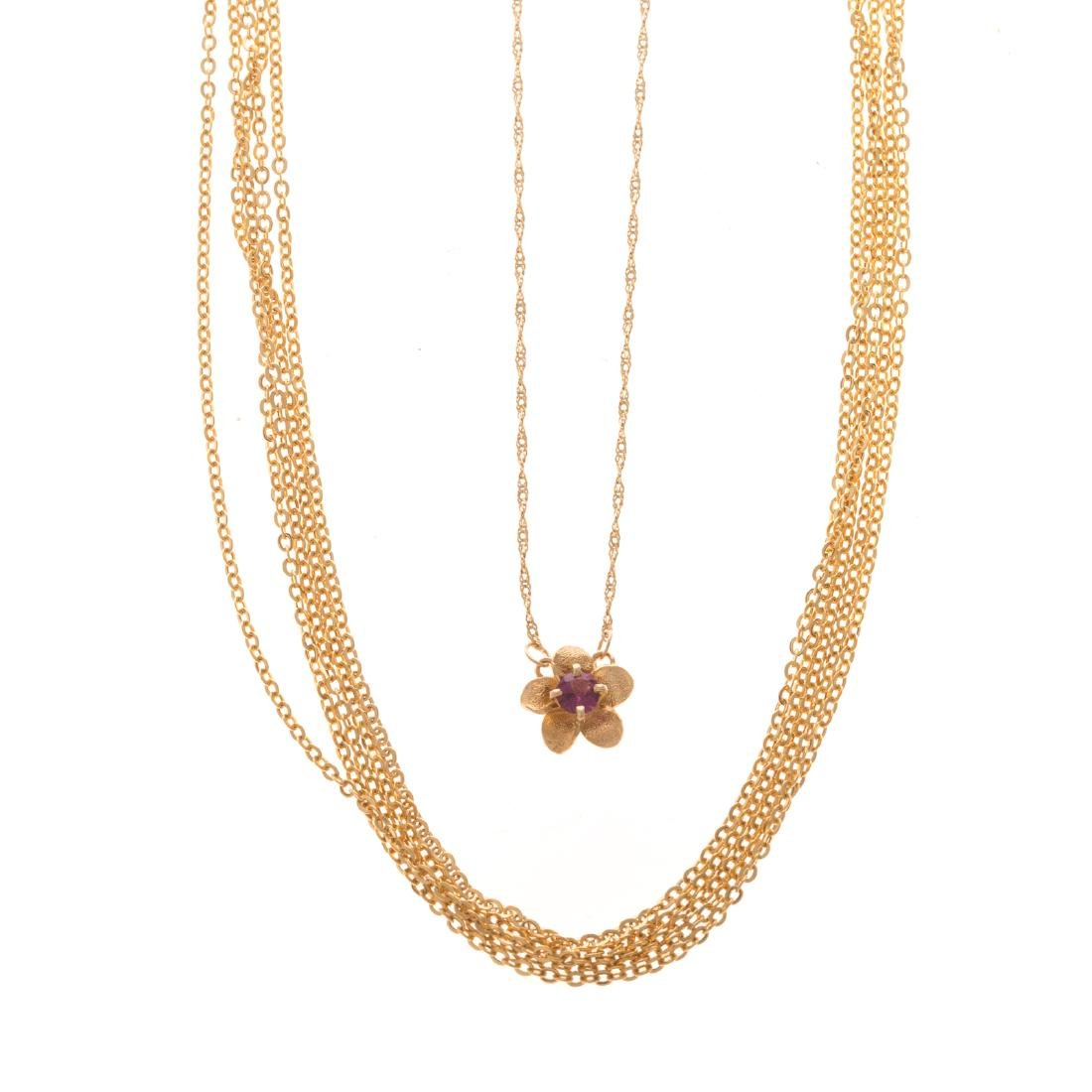 Two Lady's Necklaces in 14K Gold