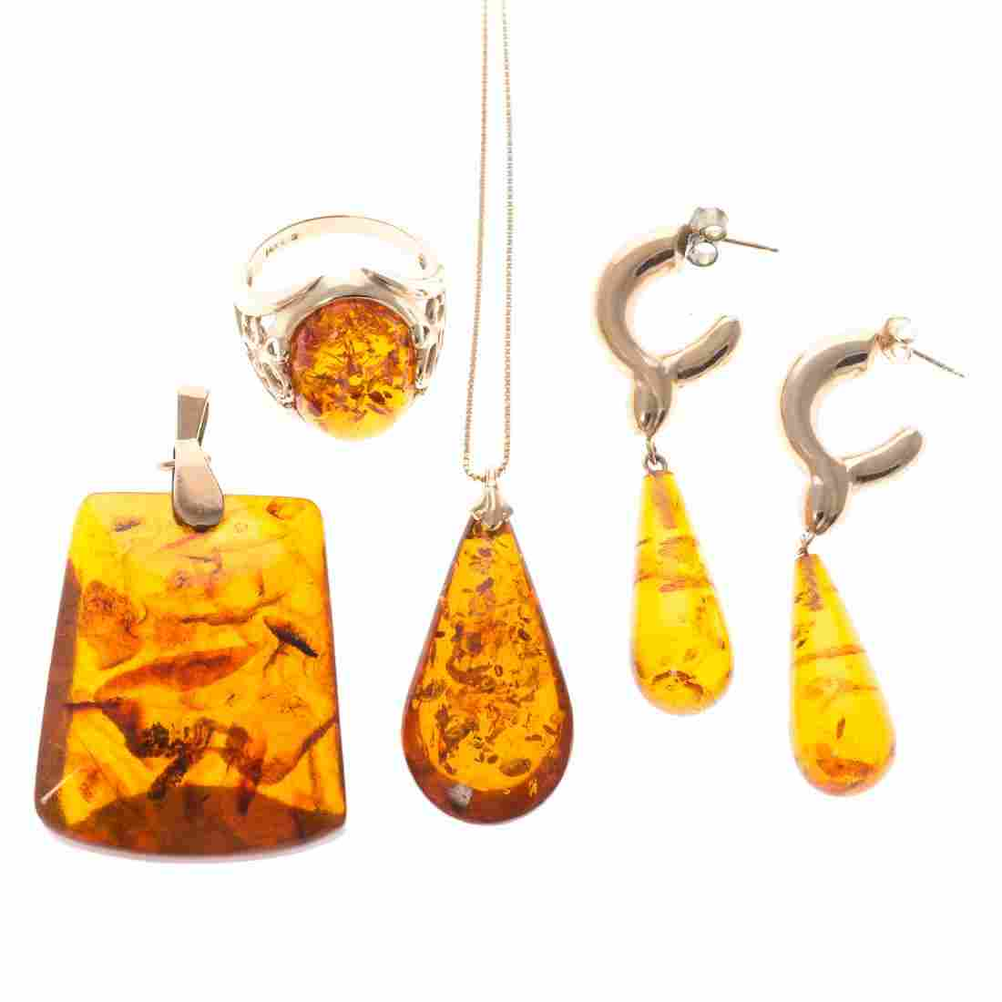 A Lady's Collection of Amber Jewelry in 14K Gold