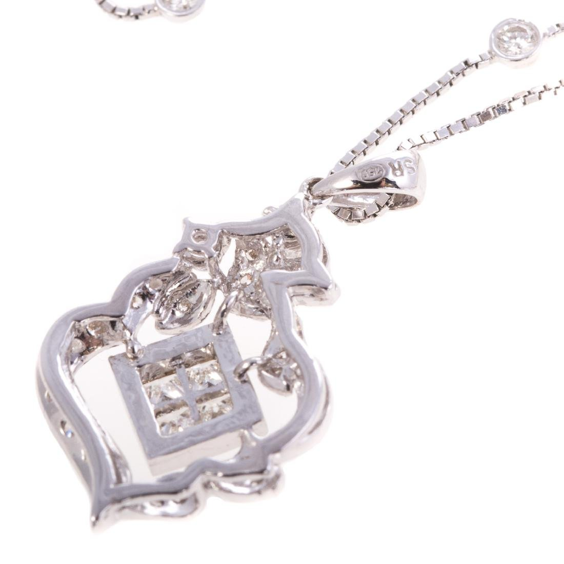 A Lady's Diamond Filigree Pendant in White Gold - 4