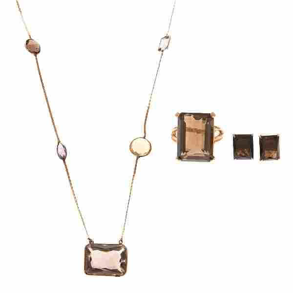 A Collection of Smoky Quartz & Amethyst Jewelry