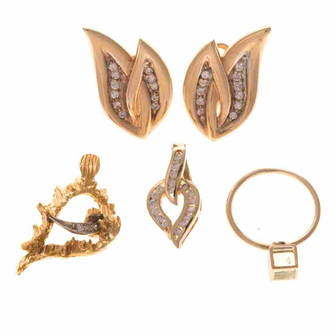A Collection of Lady's Gold & Diamond Jewelry