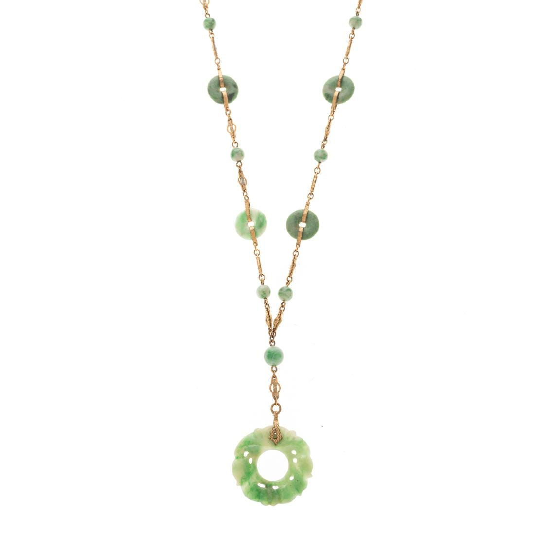 A Lady's Carved Jade and Bead Lariat Necklace